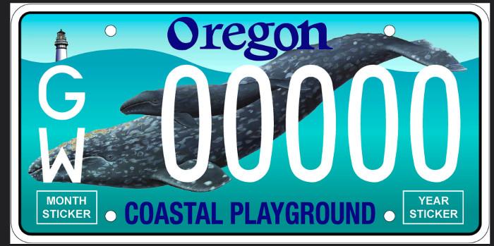 Oregon whale license plate
