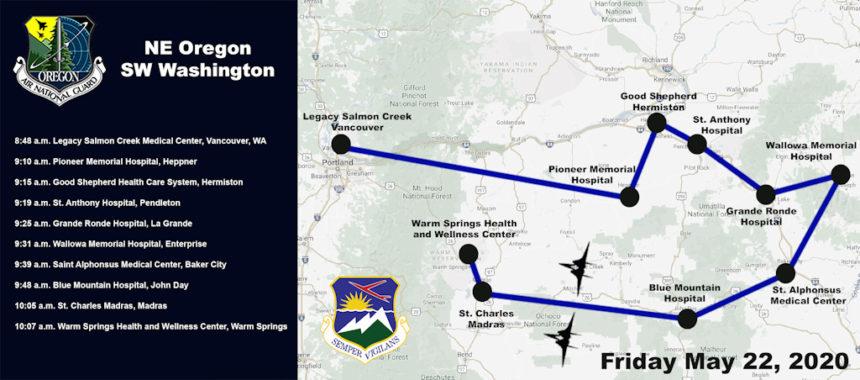 May 22 Oregon Air National Guard flyover map