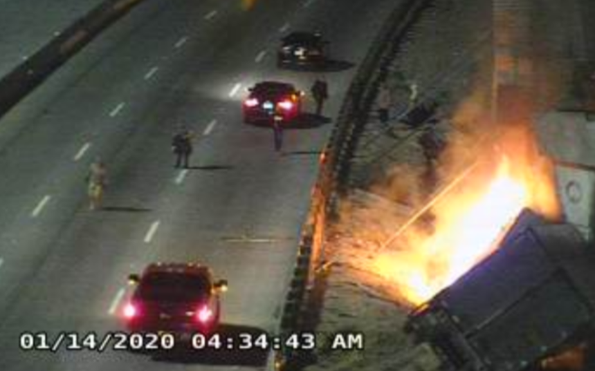 semi-truck fire on I-10 east