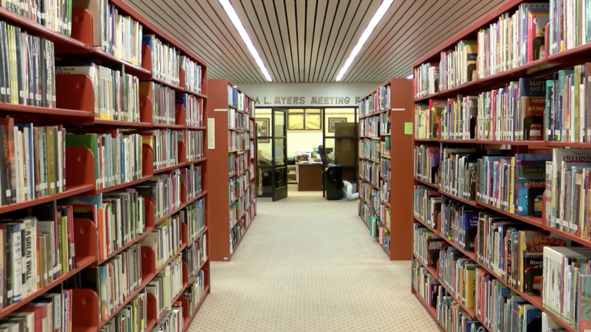 Bookcases inside the Camarena library.