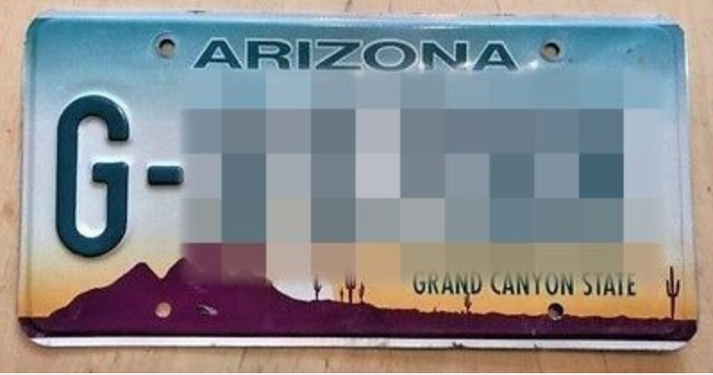 License plate of official unmarked vehicles