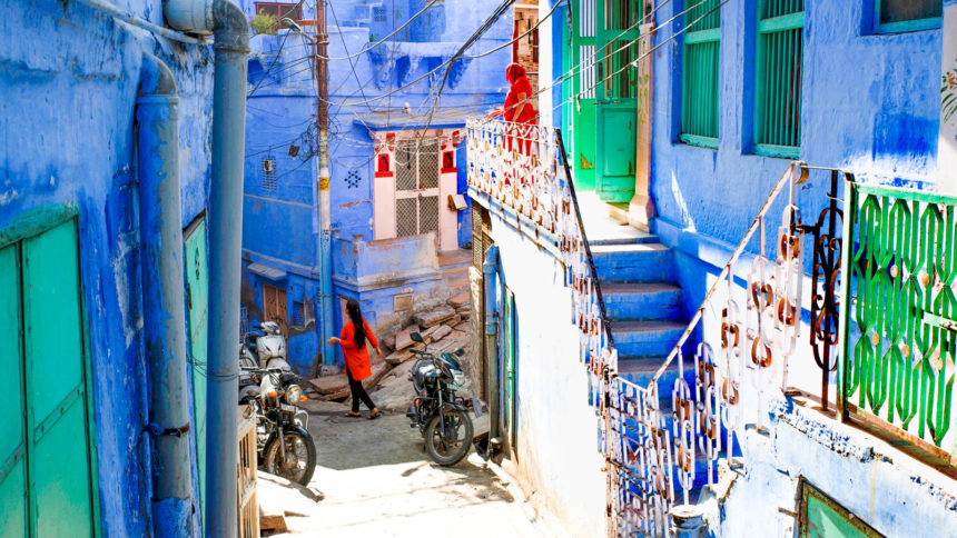 A view of a narrow street in the blue city