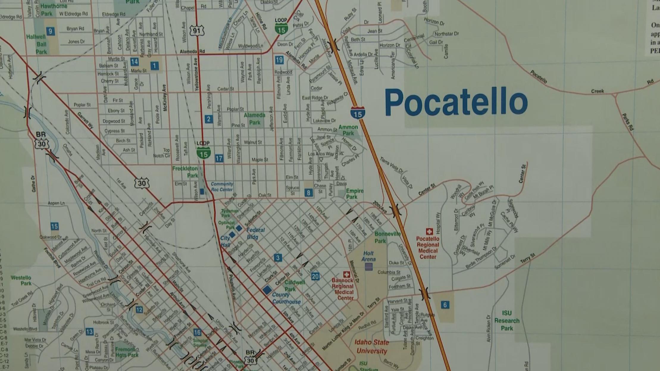 A map of Pocatello