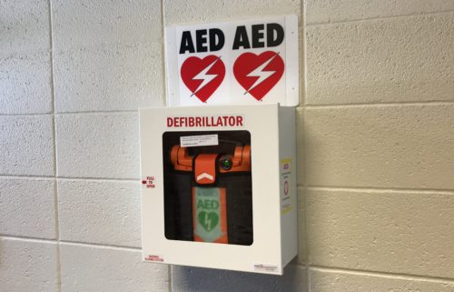 An AED donated to Hillview Elementary School in Ammon, Idaho.