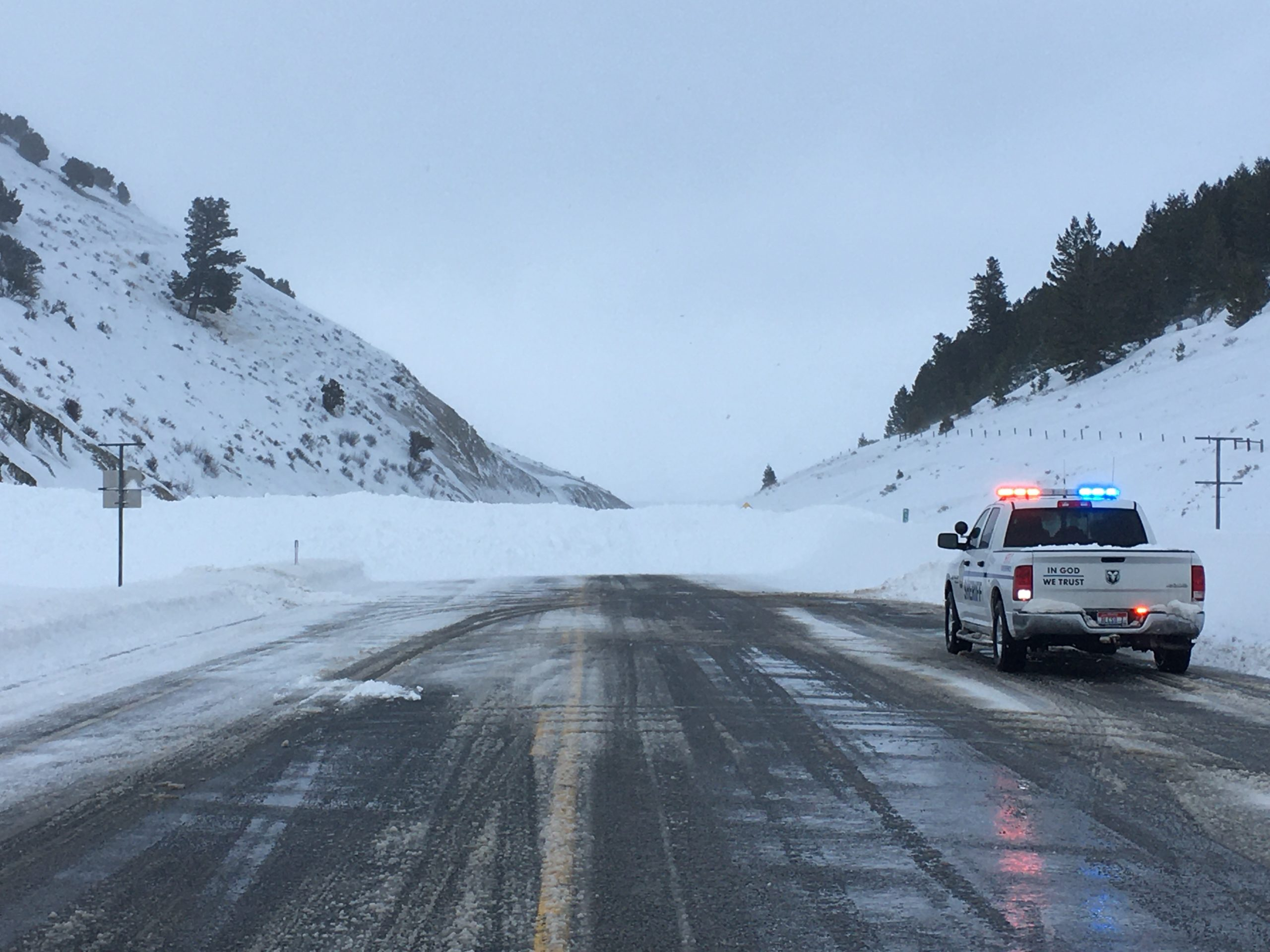 An avalanche crosses U.S. 89 at Geneva Summit between Montpelier and Geneva Friday, Feb. 7, 2020.
