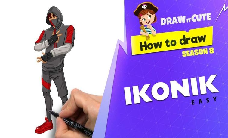 Ikonik Skin Fortnite Logo How To Draw Ikonik Easy Fortnite Season 8 Tutorial