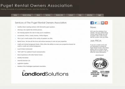 Puget Rental Owners Association Website – 2011